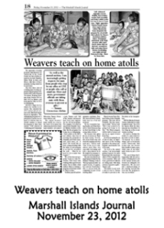 Weavers teach on home atolls.  Marshall Islands Journal