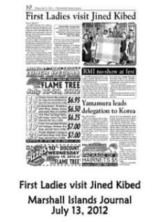 First Ladies visit Jined Kibed.  Marshall Islands Journal