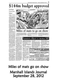 Miles of mats go on show.  Marshall Islands Journal